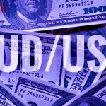 AUD/USD sign text over dollar banknotes background.